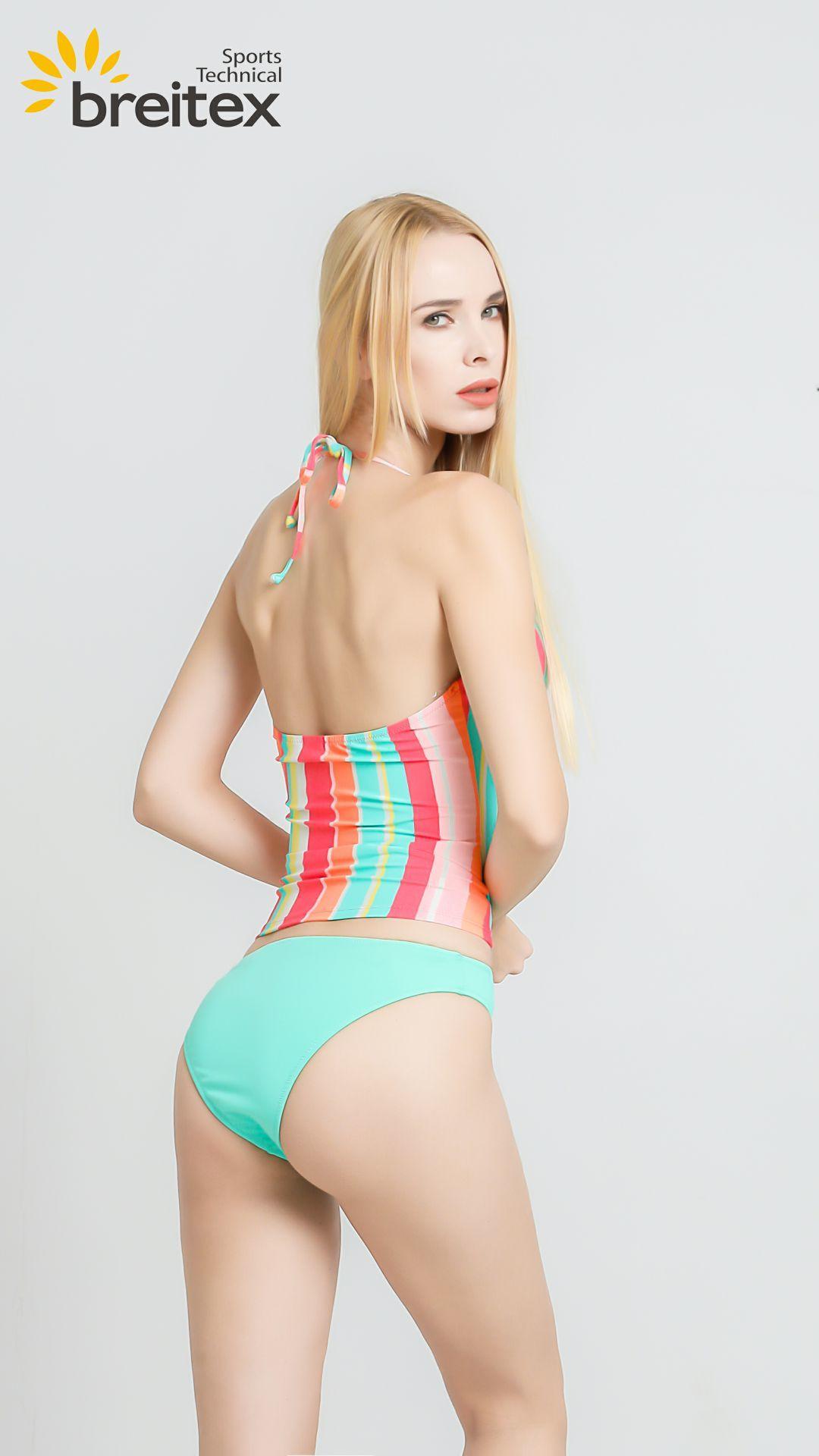 product-Ladies swimwear, the contrast color swimwear, striped tankini set, two-piece bikini-Breitex--1