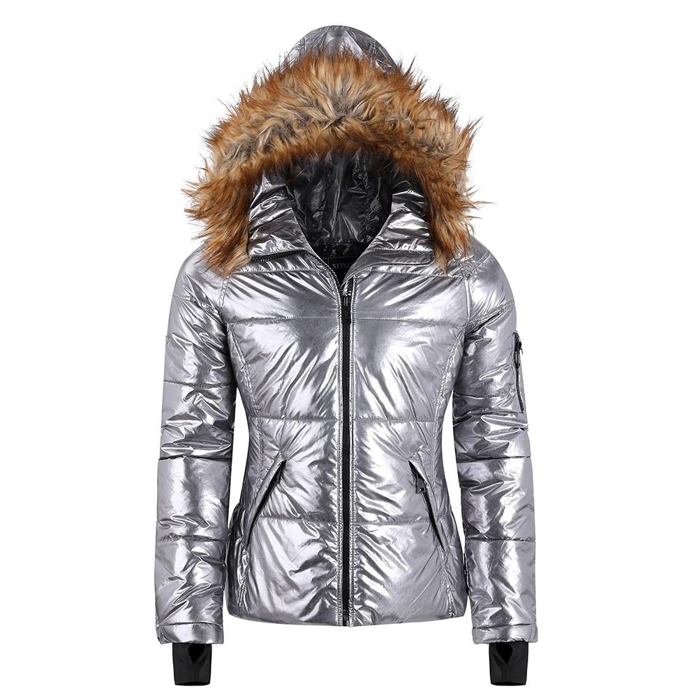 Women's padding jacket with faux fur trim