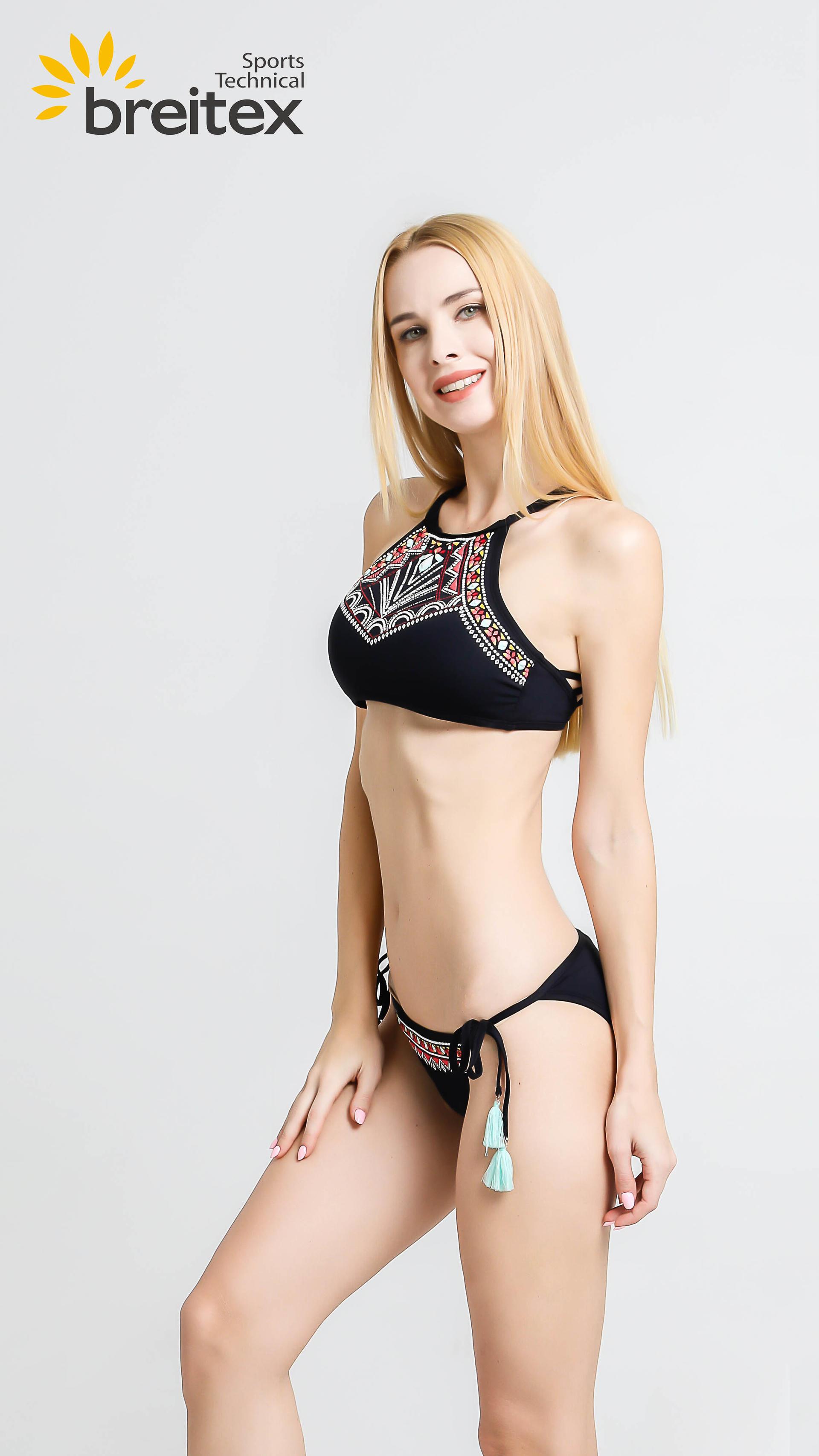 product-Breitex-Ethnic Swimwear Women Retro Crop Halter Swimsuit Low Waist Bottom Two Piece Bikini