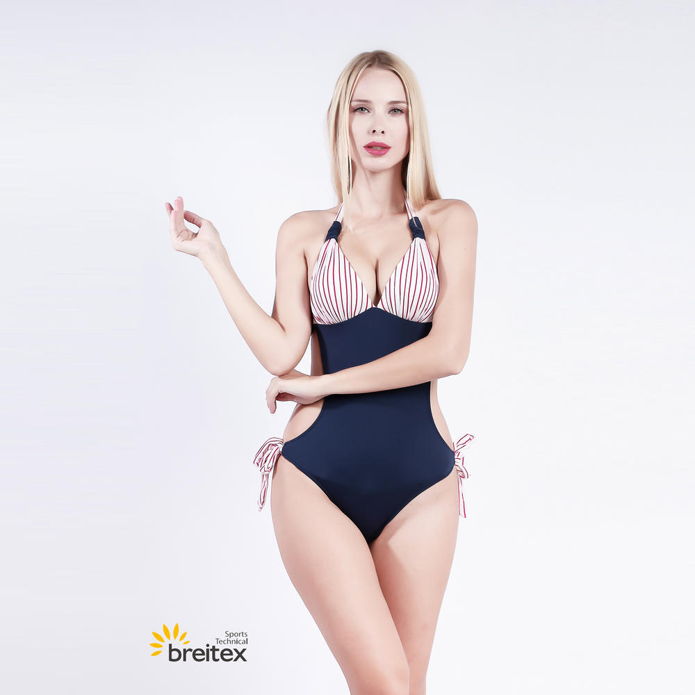 women one-piece swimsuit in yarn dyed stripe jacquard fabric