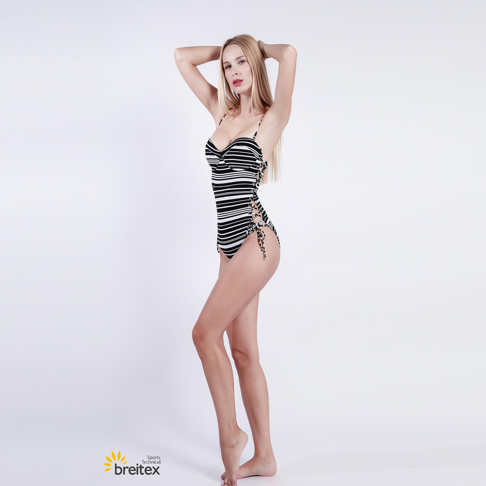 lady striped swimwear with lace up ties at each side