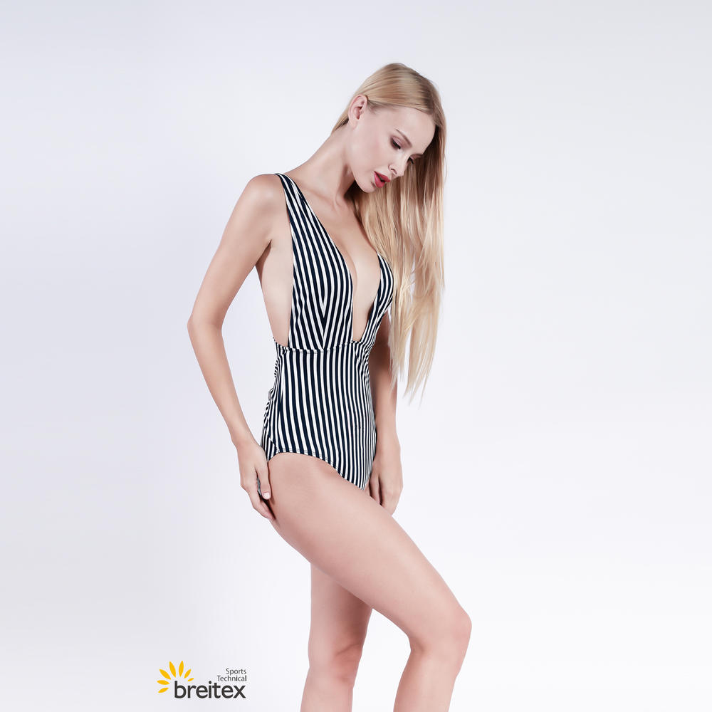 women's deep v neck sleeveless striped one piece swimsuit