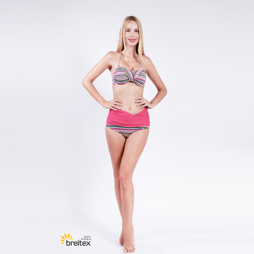 top-selling bandeau bikini, top with wire and mould cup, high waist panty