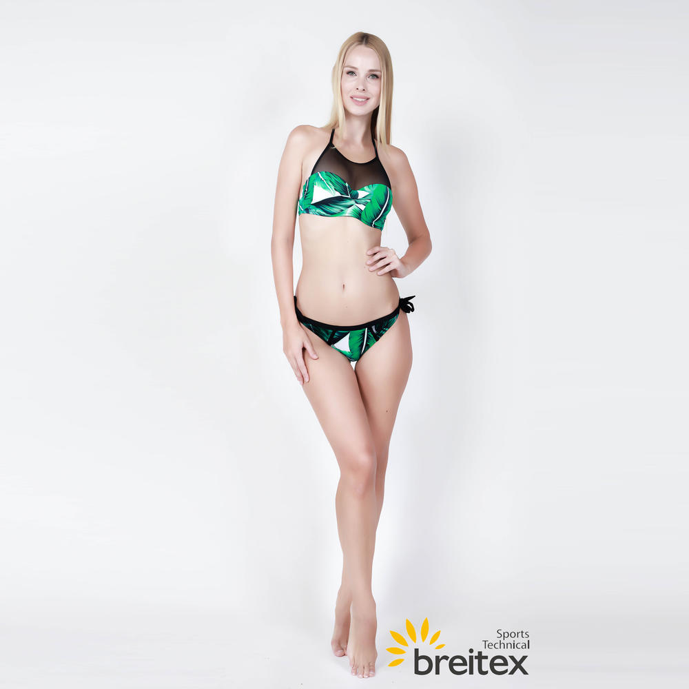 Tropical Rainforest Print Splicing Mesh Bikini Swimsuit - two piece set from Braitex