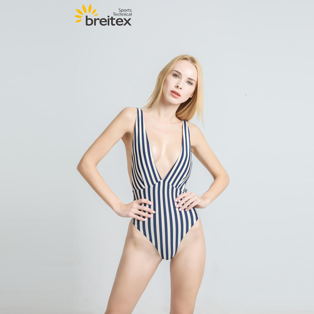 Women Monokini Deep V Neck Sleeveless Striped One Piece Bikini from Breitex