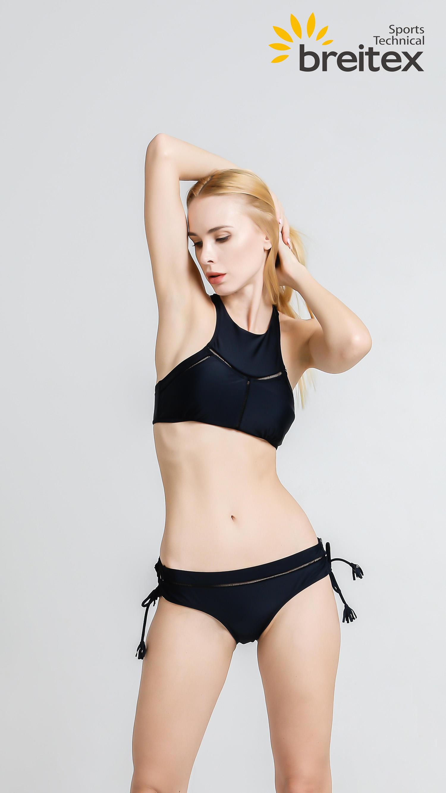 product-Womens Black Strap Back Crop Criss-cross Rope Bottom Bikini Set from Breitex-Breitex-img-1
