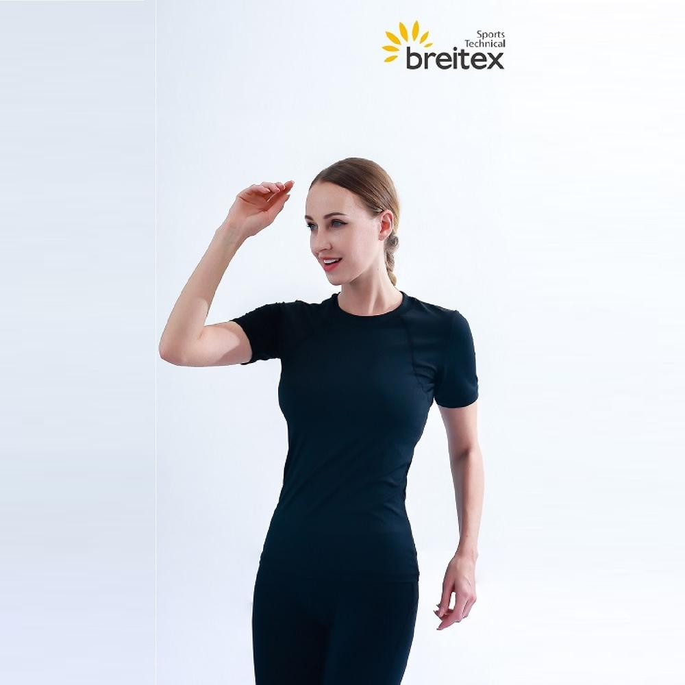 Professional women's top reflective silicone print T-shirt with hollow back and leggings Supplier-Breitex