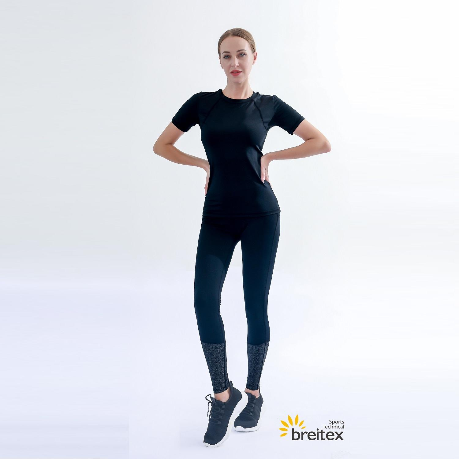 product-Professional womens top reflective silicone print T-shirt with hollow back and leggings Supp-1