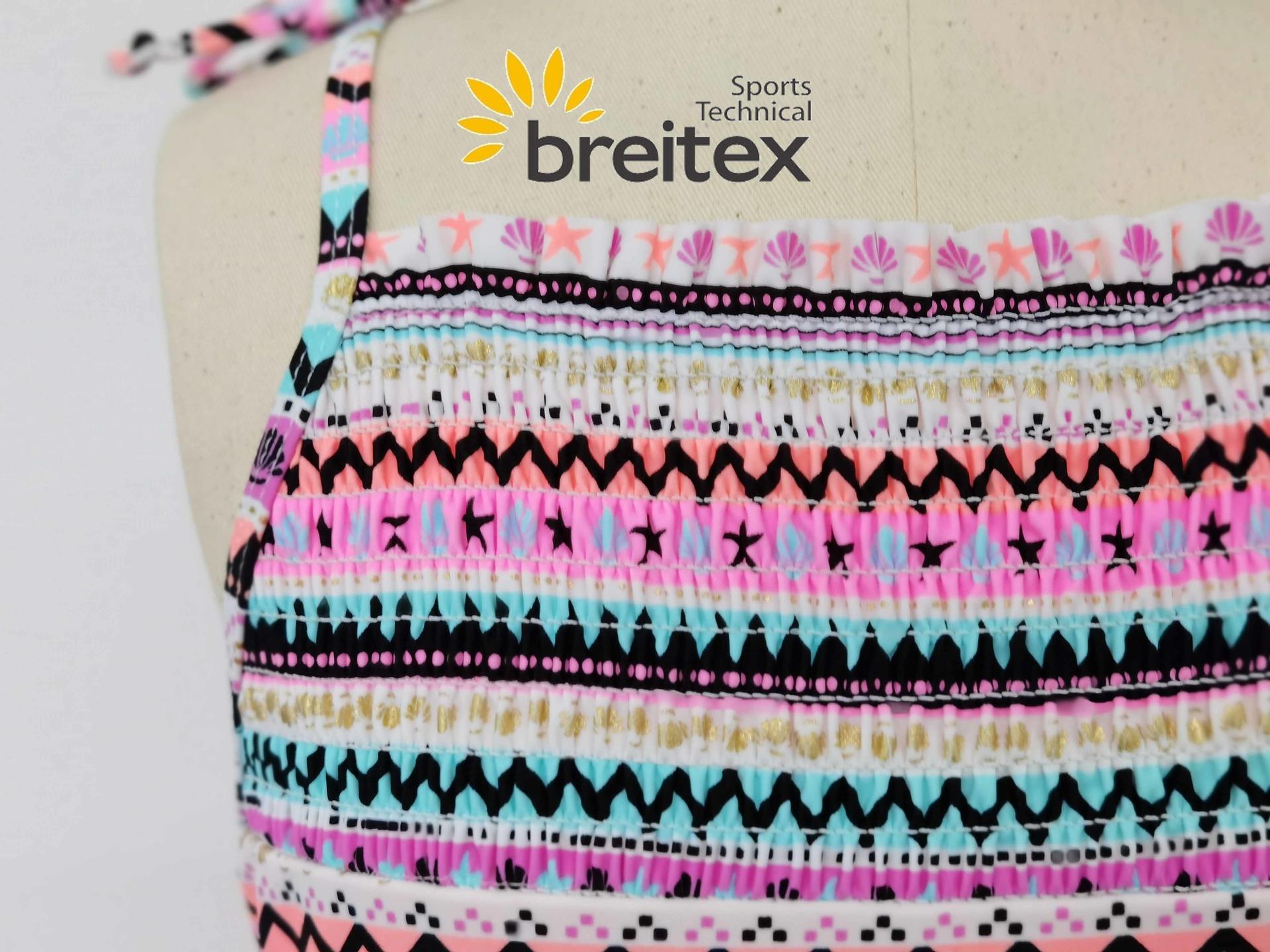 product-Breitex-Kids swimwear front chest shirred and foil stripes one piece bikini from Breitex-img