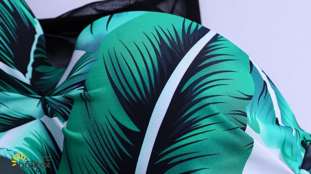 product-Tropical Rainforest Print Splicing Mesh Bikini Swimsuit - two piece set from Braitex-Breitex-1