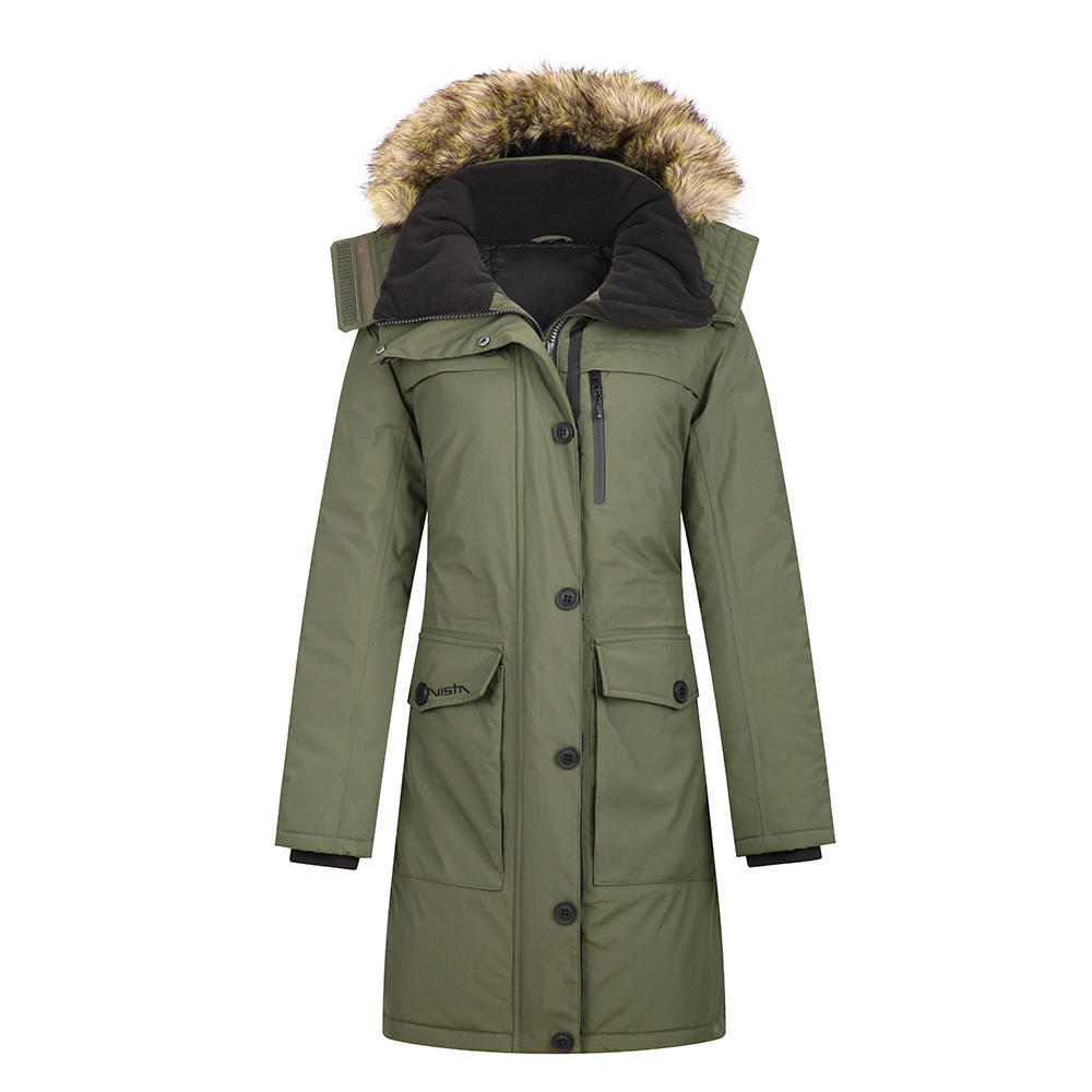 Winter jacket with faux fur trim-Long style